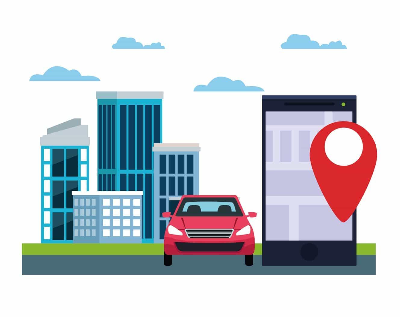 地図アプリを利用して市街地を走行する車
