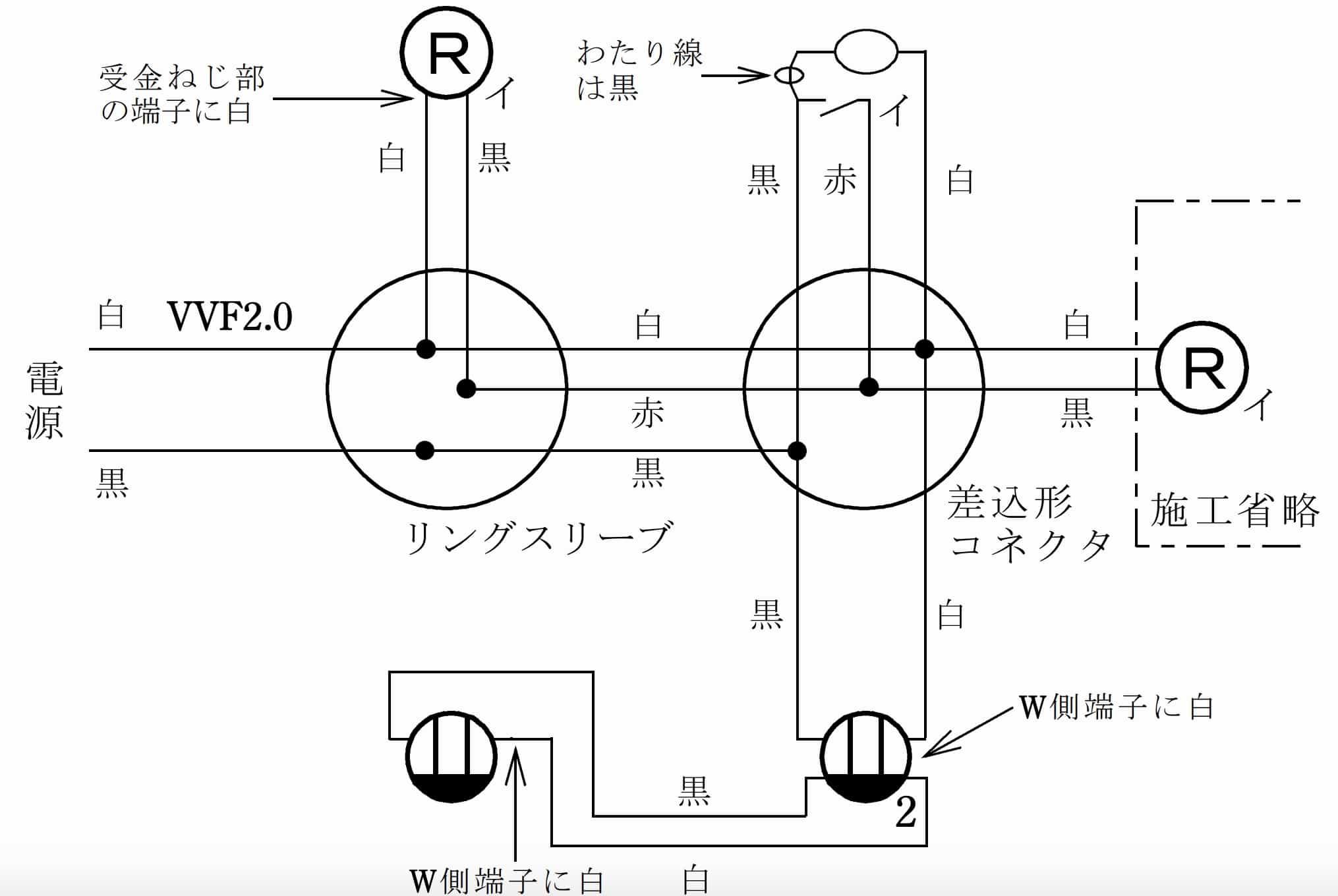 第二種電気工事士の技能試験の試験問題No.2の複線図
