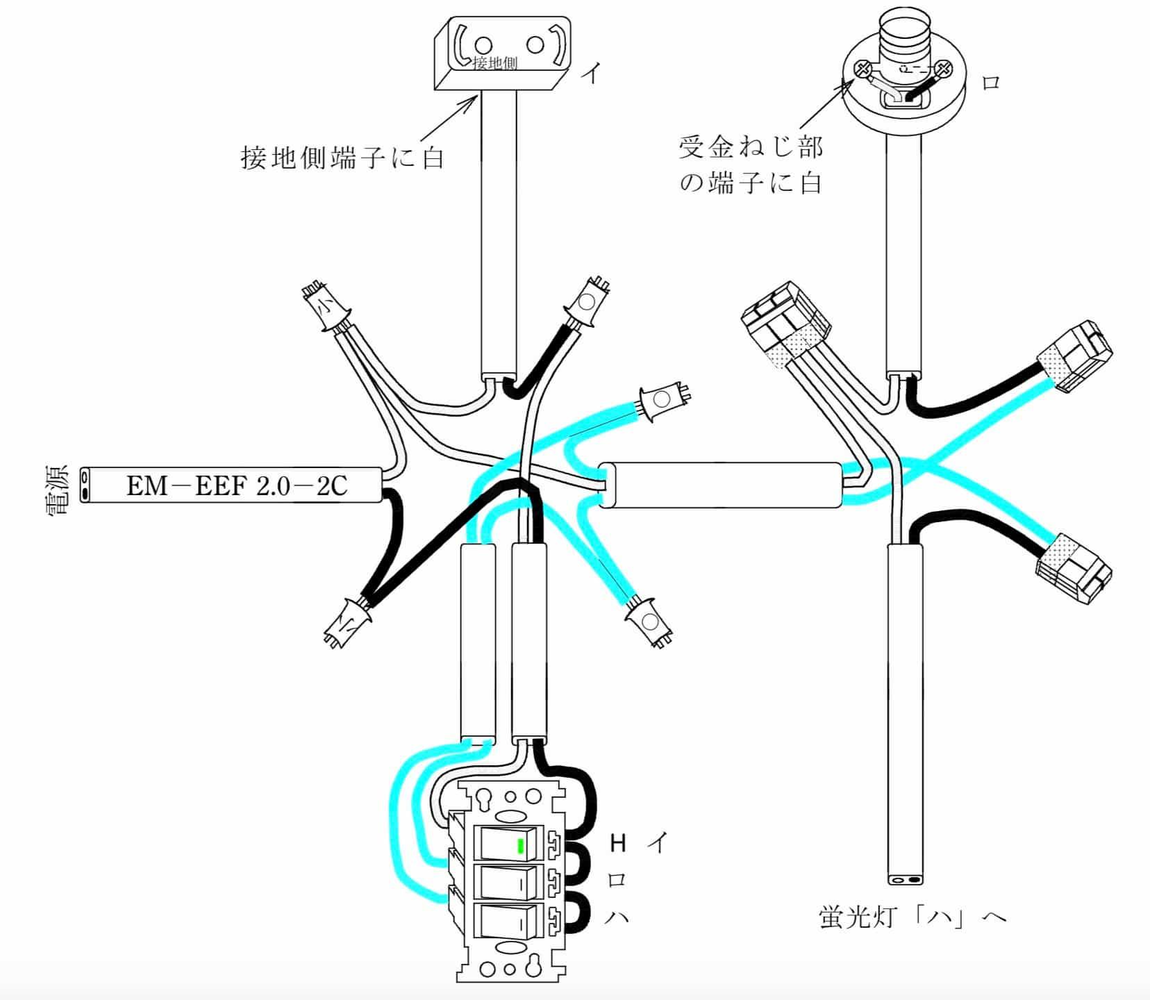 第二種電気工事士の技能試験の試験問題No.1の概念図