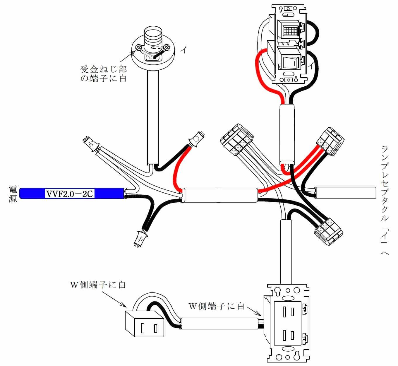 第二種電気工事士の技能試験の試験問題No.2の概念図