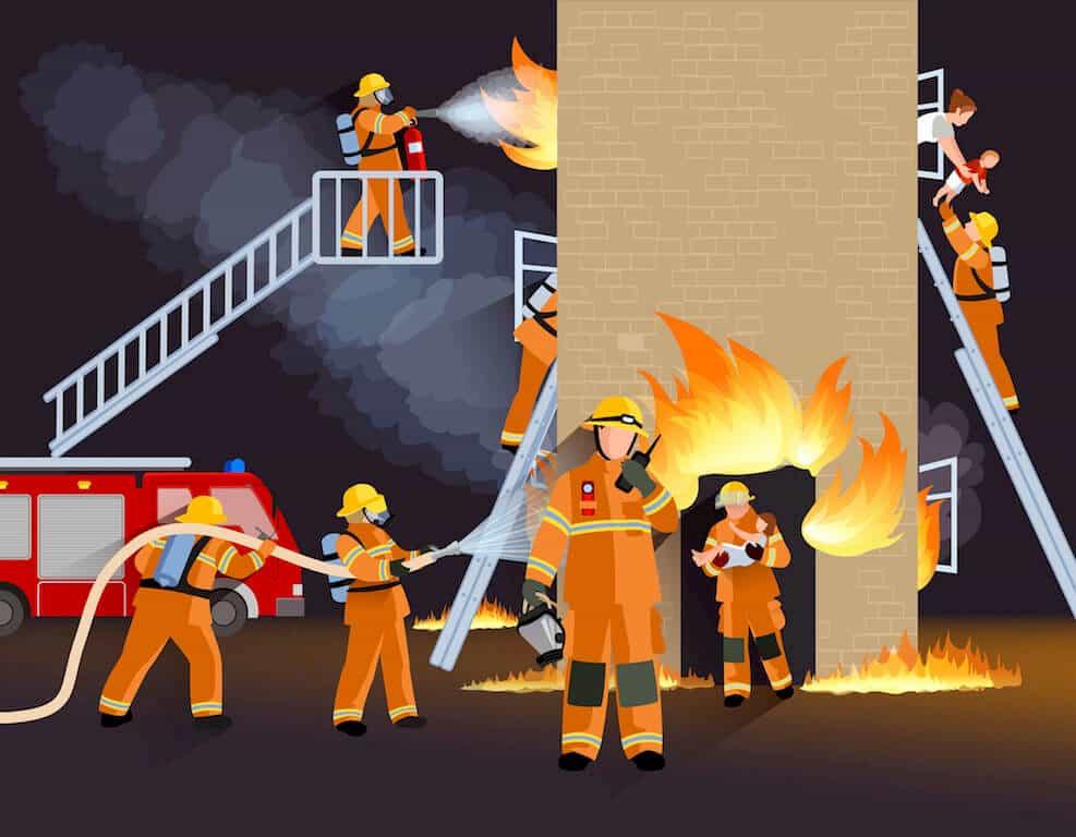 消防隊員によるレスキュー活動
