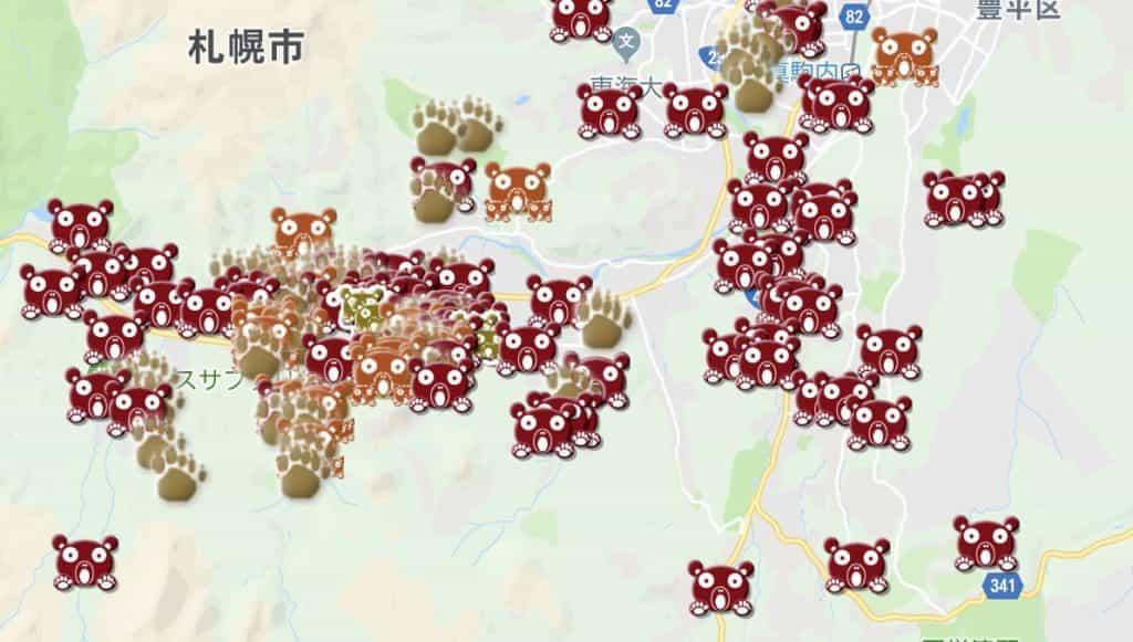 クマ目撃・出没場所の地図