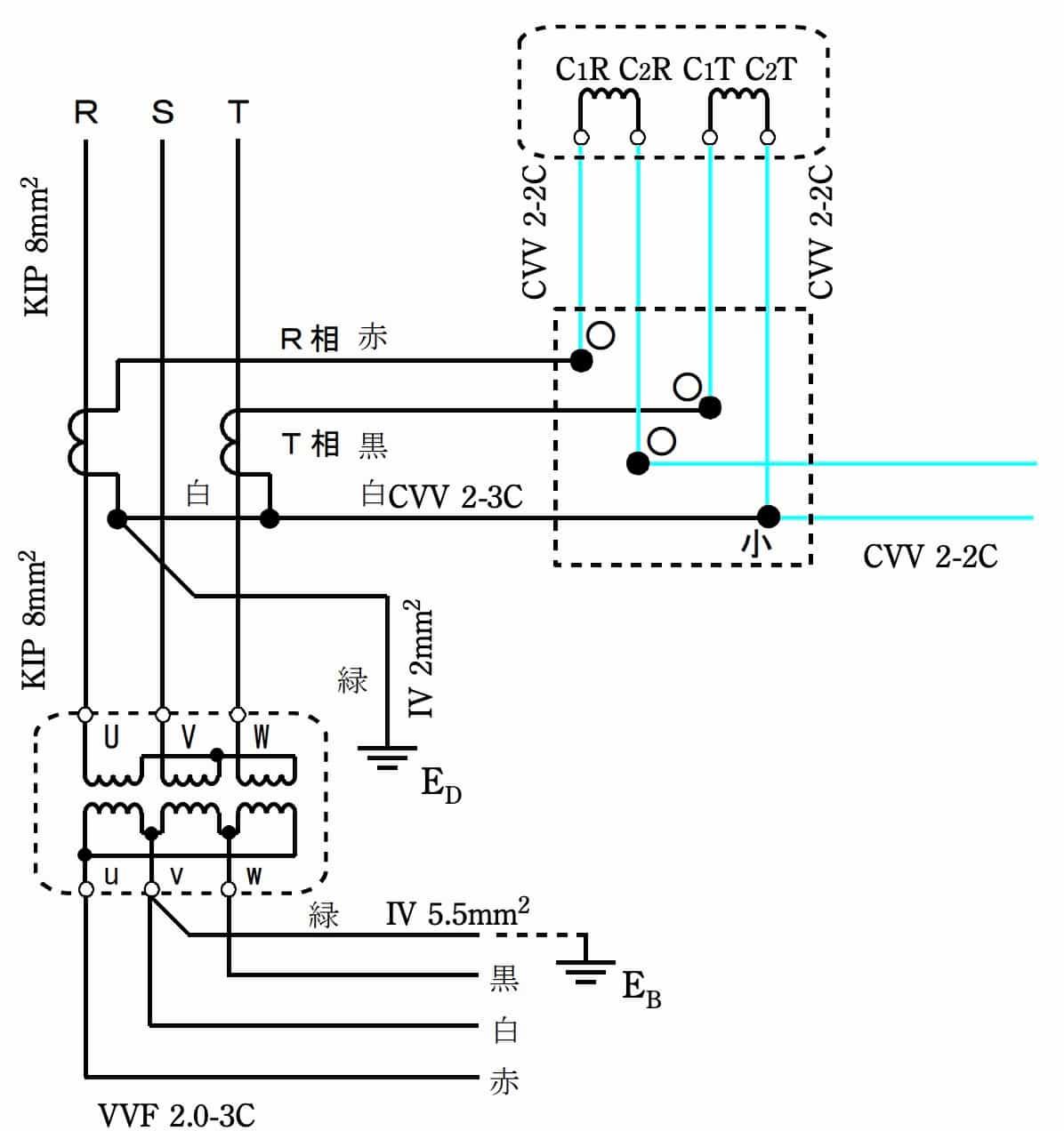 第一種電気工事士の技能試験の試験問題No.7の複線図