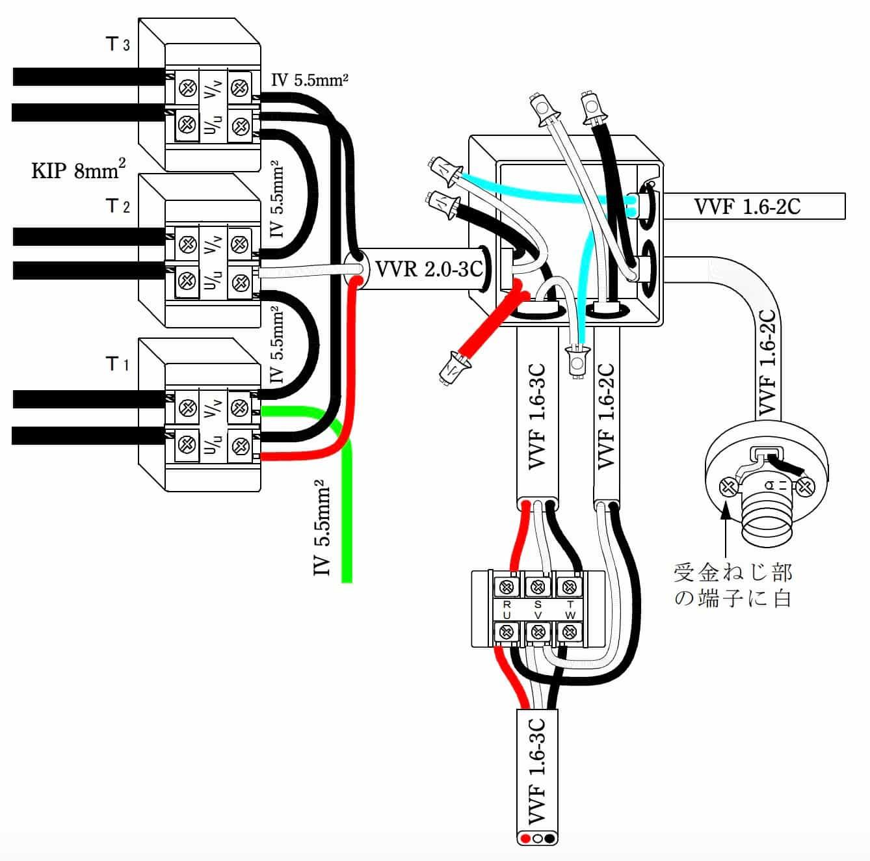 第一種電気工事士の技能試験の試験問題No.6の概念図