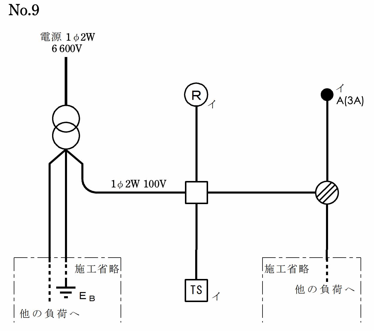 第一種電気工事士の技能試験の試験問題No.9の候補問題