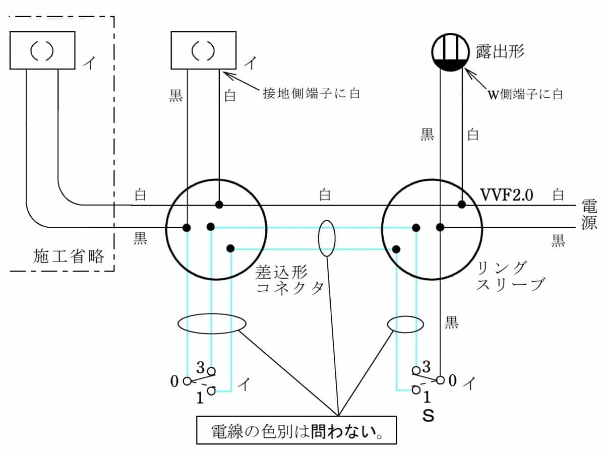 第二種電気工事士の技能試験の試験問題No.6の複線図