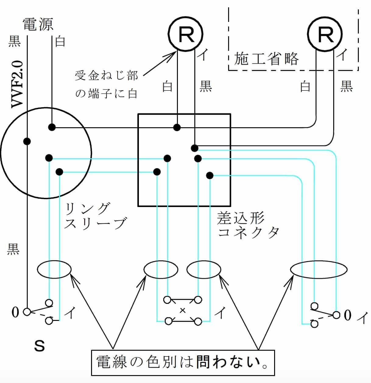 第二種電気工事士の技能試験の候補問題No.7の複線図