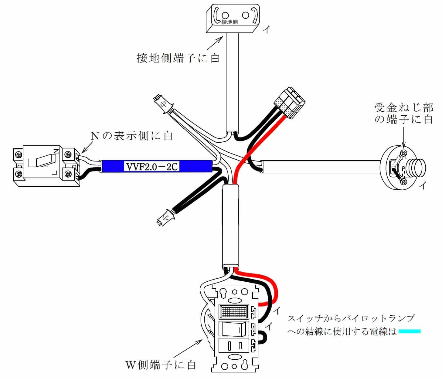 第二種電気工事士の技能試験の試験問題No.10の概念図