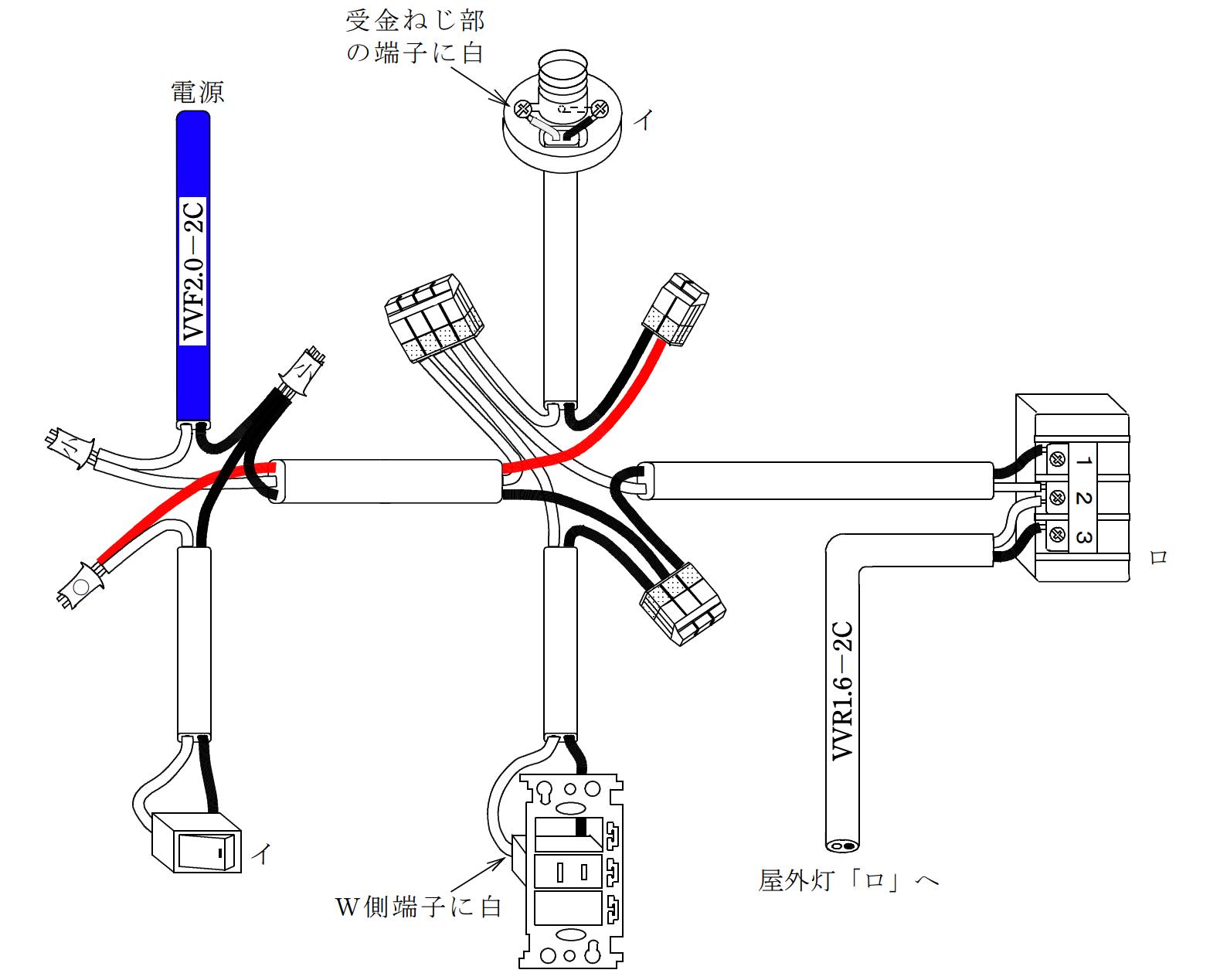 第二種電気工事士の技能試験の試験問題No.13の概念図