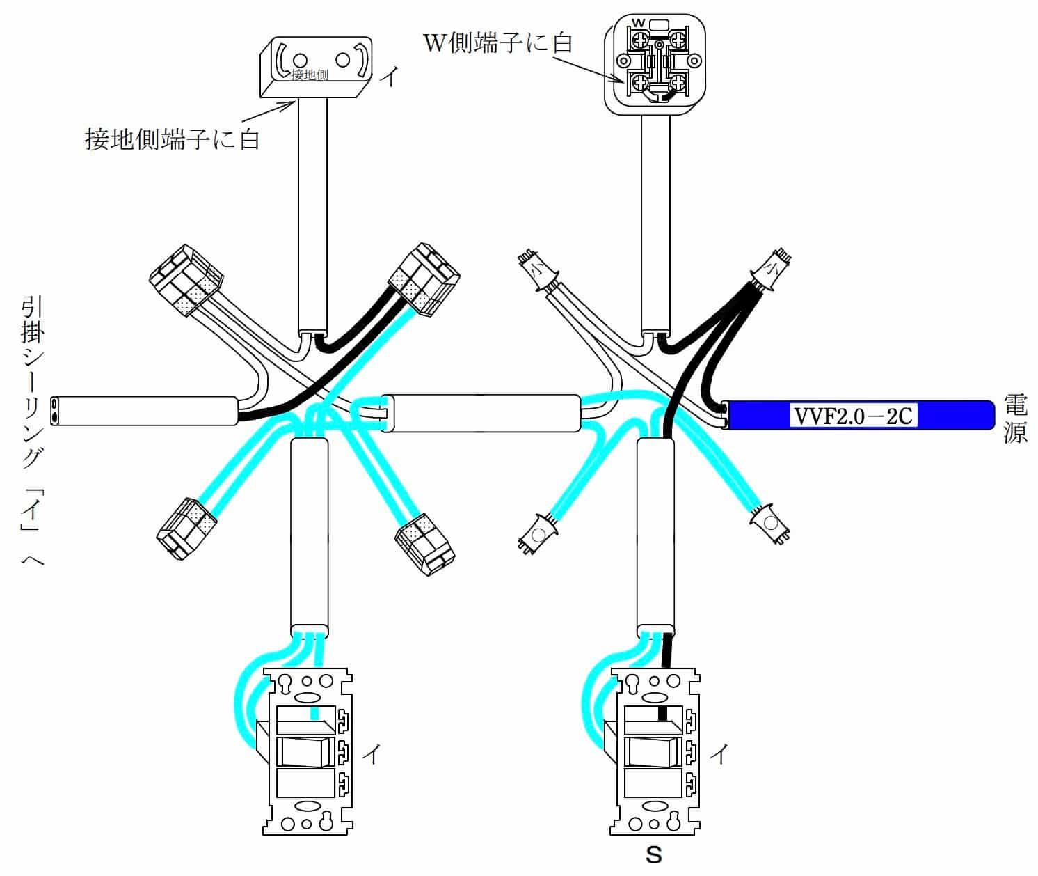 第二種電気工事士の技能試験の試験問題No.6の概念図