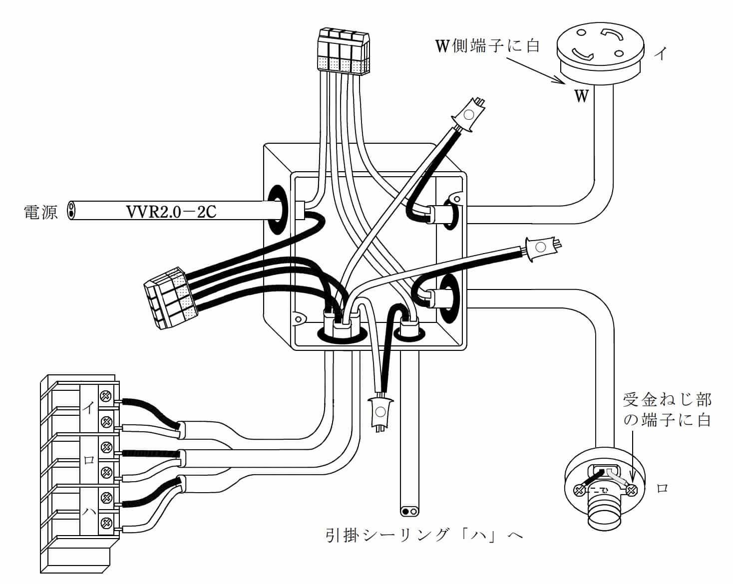第二種電気工事士の技能試験の試験問題No.8の概念図