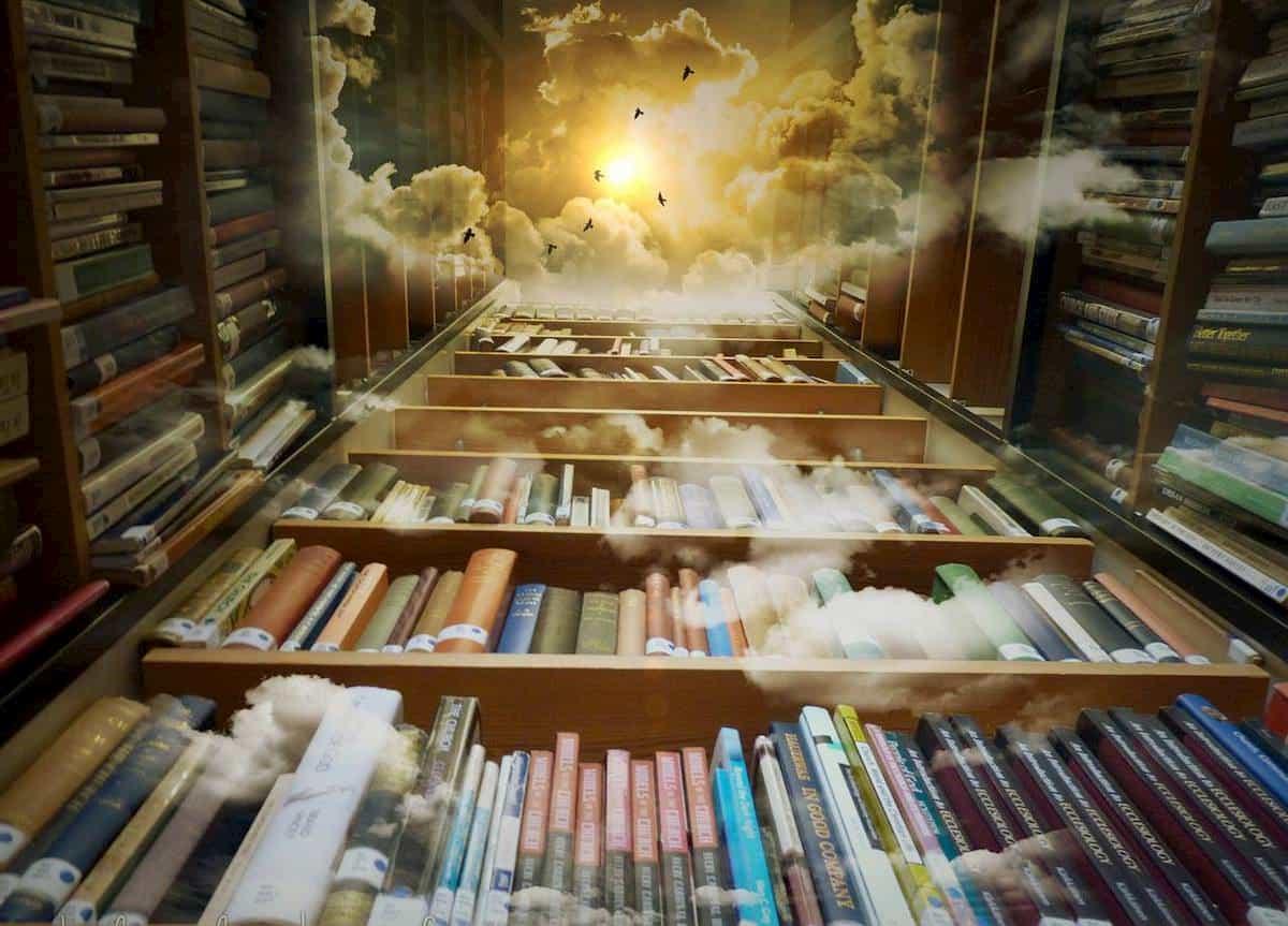 そびえ立ち天に向かう本棚