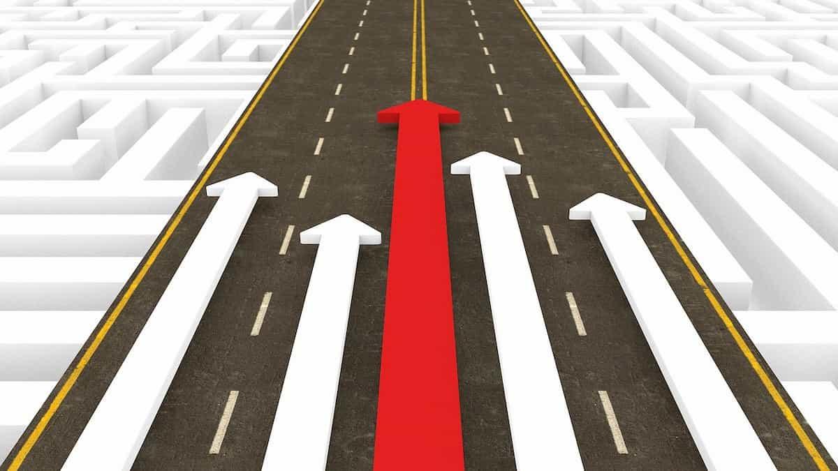 一番遠くまで進む赤い矢印