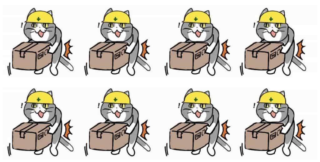 重いものを持って腰を痛める現場猫